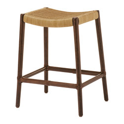 McGuire Furniture - McGuire Designs: Curved Rattan Counter Stool: O-405 - This Curved Rattan Counter Stool has an intricately woven seat and a frame of rattan, highlighted by McGuire's signature rawhide bindings. The curve of the stool cradles the body perfectly while the bowed footrest is a thoughtful design element that adds function and comfort and echoes the lines of the seat deck.
