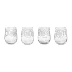Heir Stemless Wine Glass - Stemless glasses from the Heir collection. Satin Etch Print. Decorated in America. Dishwasher Safe. Set of four, 17 oz. Heir reveals the strength and beautiful form of a seemingly delicate source. Mignon endeavored to transform memories and ephemeral materials into tangible objects of lasting value. Inspired by lacework, these new creations re-examine fashion traditions and explore the heirloom in a personal and modern direction.