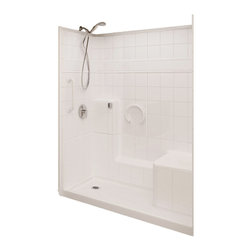 "Ella's Bubbles - Ella Prestige Low Threshold Shower 60""W x 33""D x 77""H, Right Hand Seat - The Ella Prestige, (3-Piece) 60 in. x 32 in. Low Threshold Shower is manufactured using premium marine grade gel coat fiberglass which creates a smooth, beautiful, long lasting surface with anti-slip textured shower base floor. Ella Prestige Low Threshold Shower walls are reinforced with wood providing flexibility for the grab bar installation at needed height for any size bather. The integral self-locking aluminum Pin and Slot System allows the shower walls and the pre-leveled shower base to be conveniently installed from the front. Premium quality material, no need for drywall or extra studs for fixture support, 30 Year Limited Lifetime Warranty (on shower panels) and ease of installation make Ella Low Threshold Shower the best option in the industry for your bathtub replacement or modification needs."