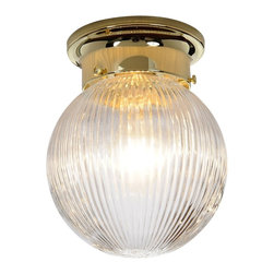 "Premier Faucet - Ribbed Glass 6 inch Ceiling Ball Fixture - Polished Brass - Polished Brass Ceiling Ball Fixture 6"" Ribbed Glass."
