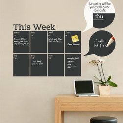 Simple Shapes - Weekly Chalkboard Calendar - Wall Decal - This chalkboard write and erase weekly planner decal is the perfect solution to keep you organized! The days of the week are cut into the Chalkboard vinyl so your wall color shows through. It is applied directly to the wall. (Chalk Ink pen not included.)