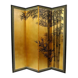 Oriental Unlimted - 5.5 ft. Tall Gold Leaf Bamboo Room Divider - Evoke images of the Orient with this soft and beautiful, hand-painted gold leaf rendition of bamboo. Subtle and beautiful hand-painted wall art for a fraction of the cost of a comparable print. Large hand-painted ink and watercolor silk screen. Song dynasty (10th century China) brush art style. Can be displayed as a privacy screen. Can be folded partly to stand upright on a table or floor. Crafted from silk covered paper, glued over 4 side-by-side lacquered wood frames. Matted with a fine Chinese silk brocade border. Comes with lacquered brass geometric hangers for easy mounting. Note that no 2 renderings are exactly the same. 67 in. W x 1 in. D x 69.5 in. H