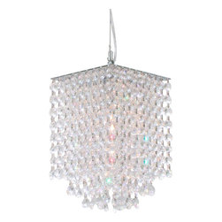 "The Gallery - Modern Crystal Square Pendant Chandelier - 100% Crystal Chandelier Pendant. A Great European Tradition. This beautiful pendant has 1 light and is decorated and draped with 100% crystal that capture and reflect the light of the candle bulb. The timeless elegance of this chandelier is sure to lend a special atmosphere anywhere its placed! PENDANT SIZE H.9"" W.6"" (EXTENDABLE TO 36"" LONG) BULB TYPE: 50w HALOGEN GU10 (NOT INCLUDED).Assembly Required."