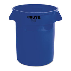 Rubbermaid Commercial - Rubbermaid Commercial Brute Refuse Container, Round, Plastic, 20 gal, Blue - When there's trash that needs to be collected, this Brute gets down to business. All-plastic professional-grade container has ample room and durability. It won't rust, chip or peel; resists dents. Reinforced rims add strength. Molded grips. Lids and dolly sold separately.
