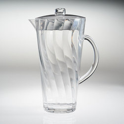 Frontgate - Swirl Pitcher - Drinkware in clear and assorted colors; dinnerware and serving pieces in clear only. Eliminates the worry of glass outdoors or on a pool deck. Top-rack dishwasher safe. Our Swirl Drinkware boasts a crystal-clear appearance, break-resistant construction, and fresh design, making it perfect for pool parties and outdoor entertaining. The shatter-resistant acrylic remains beautifully vibrant for years, resisting clouding, scratching and splitting.  .  .  .