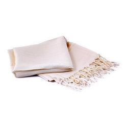 Thrown Silk Turkish Towel Fouta in Cream Color - Made of 100% thrown silk.It is inspired by the grace of the Ottoman Sultans. This silk Turkish towel fouta has got a refined workmanship. There are dark cream color embossed stripes on the both ends of the whitish cream-colored silk towel.The silk towel fouta is also very suitable for using as silk shawl, beach pareo, silk table linens and home decoration items.