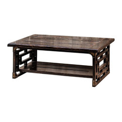 Uttermost - Black Alluring Wood Table Carved Rubbed Black Red Wood Home Decor - Black alluring wood table carved in rubbed black finish with red wood undertones home accent decor