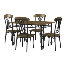 Powell - Powell Simon 5-pc Dining Set X-714-034 - The Simon 5-piece Dining Set includes a table and four chairs. A cozy, rectangle dining table, the Simon has a straight lined, contemporary design and will fit well in your kitchen or dining space. The smooth MDF tabletop with a Chesterfield finish is accented with a metal base. The table legs are beautifully designed in dark metalwork to contrast with the tabletop. The Simon Side Chair is sturdy chair with a contemporary design. It features a solid wood seat with a metalwork design back, accented with a solid oak wood curved top.