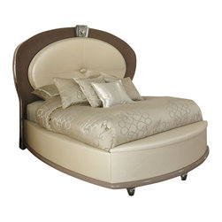 """AICO Furniture - """"Michael Amini"""" Overture 5PC Upholstered Creamy Pearl Bedroom Set - The Bedroom Set consists of Upholstered Bed, two (2) Nightstands, Dresser and Oval Mirror. The bed is available in Queen, California King and Eastern King sizes."""