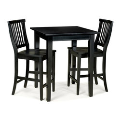 HomeStyles - 3-Pc Square Bistro Table Set - Includes bistro table and two stools. Made from Asian hardwood and veneer. Ebony finish. Made in Thailand. Table: 30 in. W x 30 in. D x 36 in. H. Stool: 22.25 in. W x 17.75 in. D x 40.5 in. H. Table Assembly Instructions. Stool Assembly Instructions