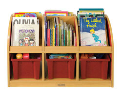 Ecr4kids - Ecr4Kids Classroom Colorful Essentials 2-Sided Book Stand Red -Toddler - Easy-to-clean satin resistant laminate. a warm maple finish with your choice of side color. Adult assembly required. Storage bins not included.