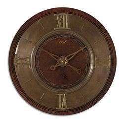 "Uttermost - 1896 30"" Wall Clock - The appealing look of an antique clock with no winding required. Add an extra touch of sophistication to your traditional home with this classically styled wall clock."