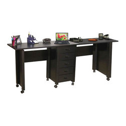 "Venture Horizon - VHZ Office 70"" W Mobile Craft Double Desk - The best selling mobile desk has some added style. This version has highly popular beadboard sides and elegant nylon handles and this large double version opens on both sides to create over 8 square feet of work space. Features: -The five deep, roomy drawers provide storage for just about anything you have in the way of office supplies or crafts.-Two inch thick legs give it a solid look and feel.-Durable and easy to clean, as well as mobile thanks to casters on the bottom.-Available in white, oak and black finish.-Collection: VHZ Office.-Distressed: No.-Country of Manufacture: United States.Dimensions: -Opens to an impressive 70'' wide.-Overall dimensions: 32'' H x 70'' W x 16'' D.-Drawer dimensions: 4.25'' H x 12.25'' W x 12.25'' H.-Overall Product Weight: 77 lbs."