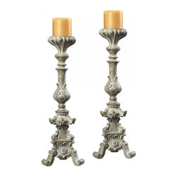 Joshua Marshal - Stone Finish Candle Holders - Stone Finish Candle Holders