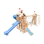 CedarWorks - CedarWorks Frolic 6 Swingset - I have an older child and a toddler, do you have something for both of them? That's what is so great about our new Frolic line of playsets. Our Cedar Stairway allows a toddler to safely access the upper playdeck, or it's a great spot to add on some toddler-ready accessories. Add a level 6 deck for some big kid accessories like the big scoop slide or vertical climbing wall to really keep those older kids challenged.