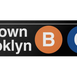 Underground Signs - Downtown & Brooklyn, Metal Sign - As seen along Central Park West in Manhattan. Sign is made to order, lead time 1-3 weeks.