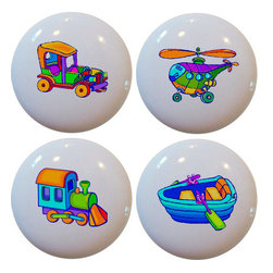 Carolina Hardware and Decor, LLC - Set of 4 Plane Train Car Boat Ceramic Knobs - Set of four new 1 1/2 inch ceramic cabinet, drawer, or furniture knob with mounting hardware included. Also works great in a bathroom or on bi-fold closet doors (may require longer screws). Item can be wiped clean with a soft damp cloth. Great addition and nice finishing touch to any room!