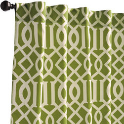 """Grandin Road - Geometric Outdoor Panel - Geometric Blue, 108""""L - Durable and weather-resistant curtain panels, designed to live outside. Rod-pocket top. Made from 100% solution-dyed polyester. Stands up to UV rays. Each is 50""""W. Add a billowing outdoor curtain panel or two for privacy in the pergola or on the porch. Each is sewn from all-weather fabric with a hidden rod-pocket top. Select from a variety of vibrant colors and patterns that are made to coordinate with our outdoor cushions, pillows and more.  .  .  .  .  . Made in the USA."""