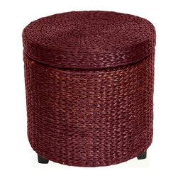 Oriental Furniture - Rush Grass Storage Footstool - Red Brown - Simple, solid, and beautiful. This round shaped small foot stool has lots of uses and is great to look at. Made from rattan style rush grass woven on wood frames, with dark stained wooden feet. Cotton fabric lines the extra thick lid and body of this foot stool, providing a great place to store sewing, toys, or shoes-anything! At 17 inches tall, this piece is about the height of an average coffee table. Customers have commented that the soft, thick, rush grass has a feeling of excellent quality.