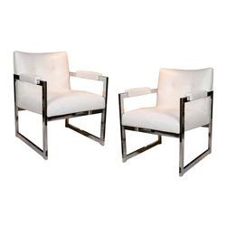 Pair of Mid-Century Armchairs in the Style of Milo Baughman - A pair of very comfortable 1970s chrome frame chairs in the style of Milo Baughman. Very well-made, with a custom white vinyl fabric treatment. The pair is in great size where comfort is needed, but space won't allow for full size club chairs.