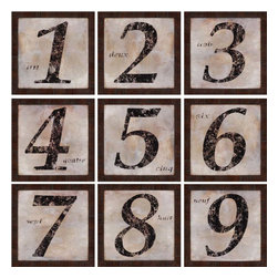 Paragon - Numerals PK/9 - Framed Art - Each product is custom made upon order so there might be small variations from the picture displayed. No two pieces are exactly alike.