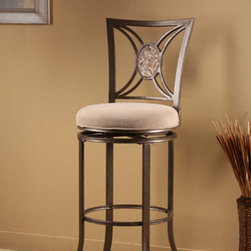 "Hillsdale - Rowan Swivel Stool - The unique oval fossil stone as the centerpiece of its classic back design. Features: -Rowan collection. -Light brown fabric upholstery. -Swivels 360 degrees. Dimensions: -Seat height: 30"". -Overall: 45.25"" H x 19.25"" W x 17"" D, 21 - 22 lbs."