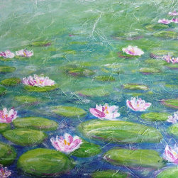 """Water Lilies, Painting"" - ""Water Lilies"""" *** Monet painted around 250 paintings inspired by the water lilies from his pond. I passed by Monet's garden a few years ago, and images from his garden and pond remain in my memory since then. What a happiness to live as a painter in a such environment ! An endless source of inspiration. I started to create a series of paintings with water lilies, in homage to Monet. --- Acrylic on stretched canvas. Gallery Format"""