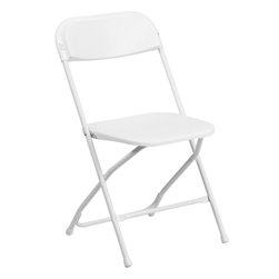 Flash Furniture - Hercules Plastic Folding Chair in White - White Plastic Folding Chair. 800 lb. Weight Capacity. Lightweight for Easy Handling. White Plastic Seat and Back. Contoured Back and Seat. Open Back Design. Textured Polypropylene Seat and Back. Double Support Rails. 18-Gauge Steel Frame. White Powder Coated Frame Finish. Non-Marring Floor Caps. Easily Nests For Stacking. Designed for Indoor and Outdoor Use. Seat-Size: 15.5 in. W x 15.75 in. D. Back Size: 18.25 in. W x 15.5 in. H. Seat Height: 17.5 in. H. Overall Dimension: 17.5 in. W x 19.5 in. D x 31.75 in. H (8 lbs)Plastic folding chairs are the choice of many event planners for their lightweight design, ease of cleaning, and versatility among events. This portable folding chair can be used for Banquets, Parties, Graduations, Sporting Events, School Functions and in the Classroom. This chair will be the perfect addition in the home when in need of extra seating to accommodate guests. Constructed of lightweight textured polypropylene and a strong steel frame, these folding chairs will suit most any occasion.