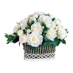 Winward Designs - Rose Arrangement Flower Arrangement - Elegant magnolia blossoms never go out of style, so why wait for spring to display them in your home? With a high-quality permanent arrangement, you can enjoy their beauty year-round. Place this in a dining room or powder room or on a coffee table for maximum impact.