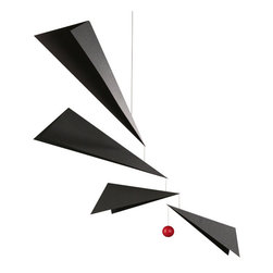 "Flensted Mobiles - Wings Mobile - A folded origami mobile remnant of stealth aircraft design made to be invisible to radars. Our model features this factor and your eyes will unconsciously adore the elegance of the ""invisible"" composition."