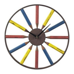 "Sterling Industries - Sterling Industries 129-1049 1"" Height Pencil Wall Clock - Specifications:"