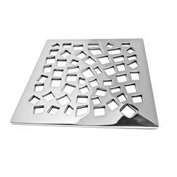 "Designer Drains - Random Squares Shower Drain, Brushed Stainless Steel/Nickel - Brushed Stainless Steel drain made to fit California Faucets drain roughs.  Measures 1/8"" thick x 5-3/16"" square. Made in U.S.A."