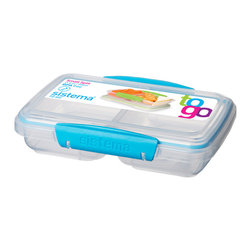 Sistema 350 ml Split Food Storage Container Assorted Colors - Sistema Storage Containers - food solutions for busy lifestyles. These handy containers keep ingredients separated until ready to eat.Product Features                                 Keeps ingredients separate until ready to eat             Locks securely            Perfect size for snacks like cheese & crackers                      Locks securely            Made in New Zealand