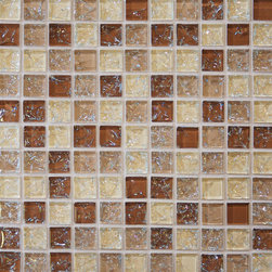 "Ice Crackle Series - Color-Tan: 1""x1""Glass Mosaic Gloss on 11.5""x11.5"" Sheet"