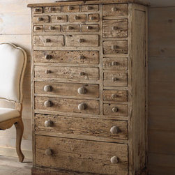 """Hampton"" Storage Chest  - Unique and inspired by antique hardware cabinets, you'll love the durability and styling of the ""Hampton"" Storage Chest.  This chest offers a multitude of storage options. 33""W x 15""D x 51""T"