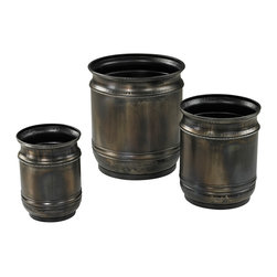 Oxidized Finish Planters - Set of 3 - *Dimensions: 13L x 13W x 14H