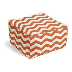 Orange & White Chevron Custom Pouf - The Square Pouf is the hottest thing in decor since the sectional sofa. This bean bag meets Moroccan style ottoman does triple duty as a comfy extra seat, fashion-forward footstool, or part-time occasional table. We love it in this graphic chevron in a washed pumpkin orange and ivory on lightweight linen that adds a punch of color to the contemporary home.