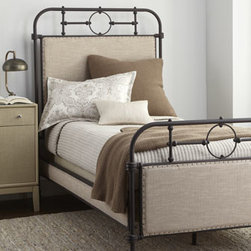 Horchow - Chaparall Twin Bed - May we reintroduce the iron bedstead, updated with upholstered headboards, side rails, and footboards? The results—a bit of trendy, industrial chic for the bedroom. Handcrafted of iron and poplar with polyester/linen upholstery. Avoid direct sunl...