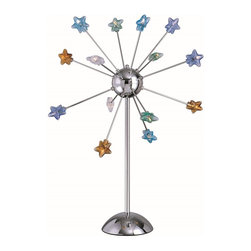 Lite Source - Lite Source Starstruck Modern / Contemporary Table Lamp XSL-ITLUM/C4162 - From the Starstruck Collection, this Lite Source table lamp features a fun and whimsical design that is both charming and delightful. Ideal for playrooms, nurseries or childrens' rooms, this design features multiple stars in a variety of hues that jet out from a spherical body. A crisp Chrome hue compliments the look of out-of-this-world design.