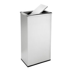 Commercial Zone Rectangular 13.5 Gallon Trash Can with Swivel Lid - Stainless St - Sleek and stylish, the Commercial Zone Rectangular 13.5 Gallon Trash Can with Swivel Lid - Stainless Steel is just right for your property. This stainless steel trash can features a precisely weighted flipper door for a clean, elegant look. It holds 13.5 gallons and is constructed from recycled heavy-gauge, 304-grade stainless steel for a hygienic surface. It comes complete with a rubber base ring and galvanized liner with handle for easy trash removal. About Commercial ZoneSince 1968 DCI Marketing Commercial Zone has been offering a complete line of image-enhancing products designed for commercial use. Commercial Zone recycling centers, trash cans, and cigarette dispensers are all designed to be aesthetically pleasing. The company offers a large selection of styles, materials, and colors. Their products are durable, easy to maintain, and are made with recycled materials whenever possible. All Commercial Zone products are designed to meet the requirements of the Americans with Disability Act.