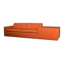 TrueModern - Marfa Sofa (Calvin Mouse) - Fabric: Calvin MouseLegs in Espresso Finish. Pictured in Calvin Saffron fabric. 100% polyester fabric. 118 in. W x 37 in. D x 26.5 in. H ( 150 lbs.). Seat Height: 14 in.his sofa is no blockhead! In fact, the Marfa Sofa is designed with the enlightened modernist in mind. Its topstitched, clean corners and lines make it sleek, yet the soft back and bottom cushions are perfect for comfy lounging. You can choose the arm and corner block configuration to be left or right to easily fit into any room in your home.