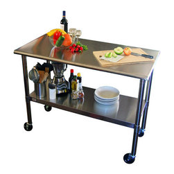 "Trinity - EcoStorage Kitchen Cart - The Trinity's high quality all-stainless steel table is great for your indoor, outdoor, kitchen, or garage needs. This table is built with a fully adjustable bottom shelf to store anything you need. It also comes with wheels that make this the perfect mobile unit. Features: -Material: Stainless steel.-Casters: 2 Locking, 2 non-locking.-Shelf fully adjustable.-Weight capacity on wheels: 150 lbs per shelf.-EcoStorage collection.-Product Type: Prep table.-Collection: EcoStorage.-Base Finish: Stainless steel.-Counter Finish: Stainless Steel.-Hardware Finish: Stainless Steel.-Distressed: No.-Powder Coated Finish: No.-Gloss Finish: No.-Base Material: Stainless steel.-Counter Material: Stainless steel.-Hardware Material: Stainless steel.-Number of Items Included: 1.-Stain Resistant: No.-Warp Resistant: No.-Exterior Shelves: Yes.-Drawers Included: No.-Cabinets Included: No.-Towel Rack: No.-Pot Rack: No.-Spice Rack: No.-Cutting Board: No.-Drop Leaf: No.-Drain Groove: No.-Trash Bin Compartment: No.-Stools Included: No.-Casters: Yes -Locking Casters: Yes.-Removable Casters: Yes..-Wine Rack: No.-Stemware Rack: No.-Cart Handles: No.-Finished Back: No.-Weight Capacity: 300 lbs.-Shelf Weight Capacity: 150 lbs.-Swatch Available: No.-Commercial Use: Yes.-Recycled Content: No.-Eco-Friendly: Yes.-Product Care: Clean with stainless steel cleaner, and wipe along the grain..Specifications: -NSF certified.-ISTA 3A Certified: Yes.Dimensions: -Overall Height - Top to Bottom: 38.5"".-Overall Width - Side to Side: 48"".-Overall Depth - Front to Back: 24"".-Width Without Side Attachments: 48"".-Height Without Casters: 35.5"".-Shelving: -Shelf Width - Side to Side: 48"".-Shelf Depth - Front to Back: 24""..-Leaf: No.-Drawer: No.-Cabinet: No.-Stool: No.-Overall Product Weight: 52 lbs.Assembly: -Assembly Required: Yes.-Tools Needed: Included.-Additional Parts Required: No.Warranty: -1 Year warranty.-Product Warranty: 1 year."