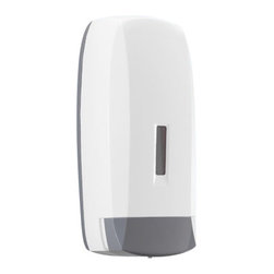 Gedy - Commercial White Touch Soap Dispenser in Thermoplastic Resins - If you are thinking about a hand soap dispenser, why not consider this luxury liquid soap dispenser pump from the Gedy Touch collection? Perfect for more modern settings, this designer liquid dispenser is wall mounted and finished with white. Made with ve
