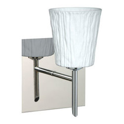 Besa Lighting - Nico Chrome One-Light Halogen Square Canopy Wall Sconce with Opal Stone Glass - - Opal Stone is a white blown glass with an outer texture of coarse sandstone. Inspired by the elements of nature, the appearance of the surface resembles the beautiful cut patterning of a rock formation. The soft white color can suit any modern or classic d�cor. The smooth satin finish on the clear outer layer is a result of an extensive etching process. This blown glass is handcrafted by a skilled artisan, utilizing century-old techniques passed down from generation to generation. Each piece of this d�cor has its own artistic nature that can be individually appreciated.  - Bulbs Included  - Shade Ht (In): 3.75  - Shade Wd/Dia (In): 3.5  - Canopy/Fitter Ht (In): 5  - Canopy/Fitter Dia/Wd (In): 5  - Title XXIV compliant  - Primary Metal Composition: Steel  - Shade Material: Glass  - NOTICE: Due to the artistic nature of art glass, each piece is uniquely beautiful and may all differ slightly if ordering in multiples. Some glass decors may have a different appearance when illuminated. Many of our glasses are handmade and will have variances in their decors. Color, patterning, air bubbles and vibrancy of the d�cor may also appear differently when the fixture is lit and unlit. Besa Lighting - 1SW-5125OS-CR-SQ