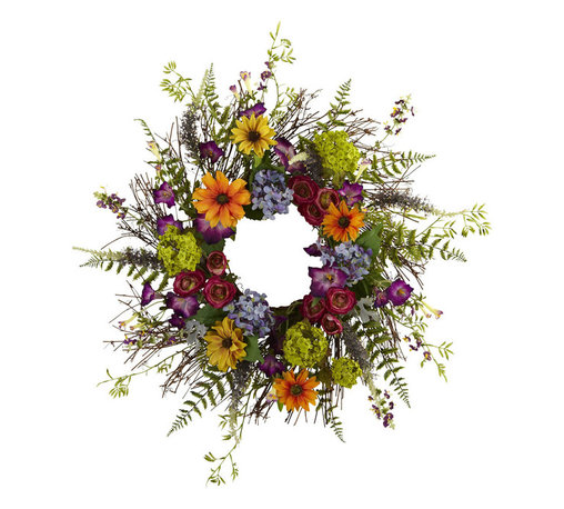 Nearly Natural - 24in. Spring Garden Wreath w/Twig Base - Say hello to Spring sunshine, no matter what time of year it is. This pretty 24' Spring Garden Wreath takes everything we love about spring, and wraps it into a never-ending circle of colorful sunshine! With a vast array of springtime blooms, sprigs, and twiggy base, it looks so real even the bees will be fooled! Makes an ideal home or office decoration, and a fine gift as well.