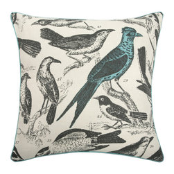 """Thomas Paul - Ornithology Linen Pillow, Aqua, 22""""x22"""" - If only it was possible to sew all the Thomas Paul pillows together into a sofa. It would be the most talked about sofa in town. All the bright colored fauna and flora, the patchwork of silk and linen--it would truly be a masterpiece. The only thing that keeps us from doing this is--we don't know how to sew. And then there is that business about somehow attaching legs. We're even more clueless on how to do that."""