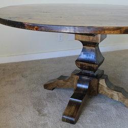 """60"""" Round Pedestal Table in Dark Walnut stain - 60"""" Round Pedestal Table in Dark Walnut finish."""
