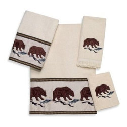 Avanti - Avanti Northwest Bath Towel in Ivory - The Northwest Ivory Bath Collection brings Northwest nature to your bathroom in a stylish way. These velour ivory towels feature a design showcasing bears fishing for salmon in a stream.