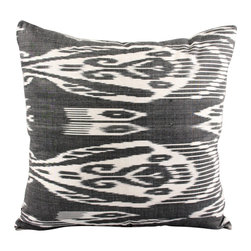 "Midnight Romance - 18"" Ikat Pillow Cover - P-A318-1AA2 - Ikat pillow cover constructed from hand woven Ikat fabric from Uzbekistan. 50% Silk/50% Cotton. This black and white bold pillow design will definitely make an impact and will mix well with other Ikat patterns."