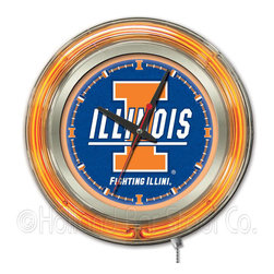 Holland Bar Stool - Holland Bar Stool Clk15IlliniU Illinois Neon Clock - Clk15IlliniU Illinois Neon Clock belongs to College Collection by Holland Bar Stool Our neon-accented Logo Clocks are the perfect way to show your school pride. Chrome casing and a team specific neon ring accent a custom printed clock face, lit up by an brilliant white, inner neon ring. Neon ring is easily turned on and off with a pull chain on the bottom of the clock, saving you the hassle of plugging it in and unplugging it. Accurate quartz movement is powered by a single, AA battery (not included). Whether purchasing as a gift for a recent grad, sports superfan, or for yourself, you can take satisfaction knowing you're buying a clock that is proudly made by the Holland Bar Stool Company, Holland, MI. Clock (1)